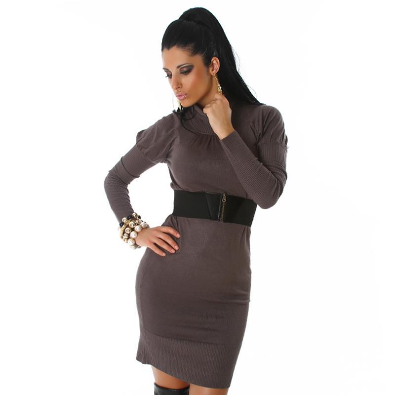 elegantes langes strick kleid kleid mit g rtel dunkelgrau. Black Bedroom Furniture Sets. Home Design Ideas