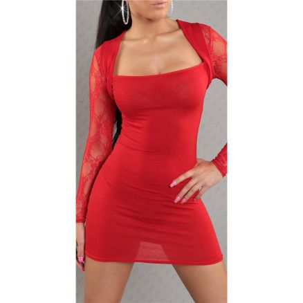 sexy langarm minikleid kleid mit spitze bolero optik rot. Black Bedroom Furniture Sets. Home Design Ideas