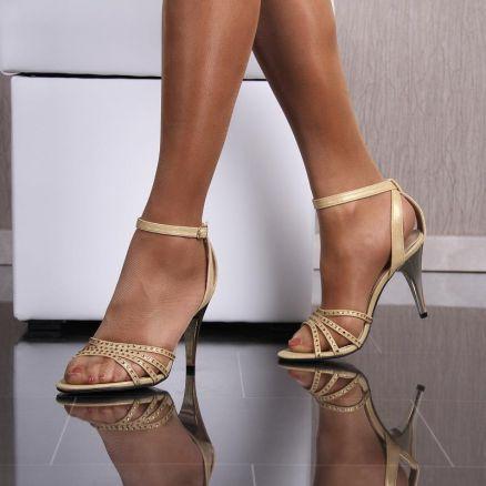 elegante sandaletten abendschuhe mit glitzer steinen gold. Black Bedroom Furniture Sets. Home Design Ideas