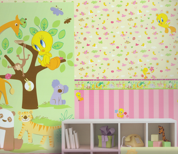 wonderland tapete kinderzimmer tapeten 318189 tweety love beige euro m ebay. Black Bedroom Furniture Sets. Home Design Ideas