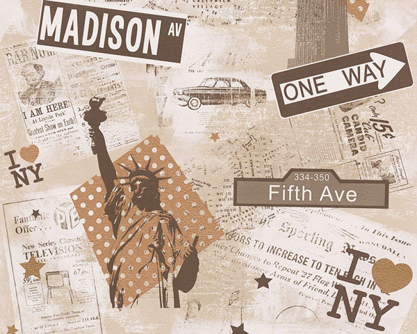 Kinderzimmer Tapete As Creation : Boys & Girls Kinderzimmer-Tapete New York 93625-2 AS Creation (2.19