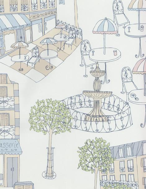 Style de cuisine 2 papier peint en vinyle paris bleu beige for Papiers peints cuisine vinyle