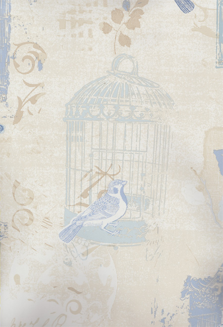 Vinyl Tapeten Hersteller : Kitchen Style 2 Vinyl-Tapete Vogelk?fig blau-beige KE29948 (7.35 Euro