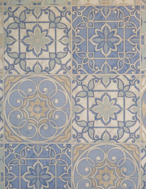 Cucina in stile 2 carta da parati vinilica piastrelle blu for Carta adesiva piastrelle cucina