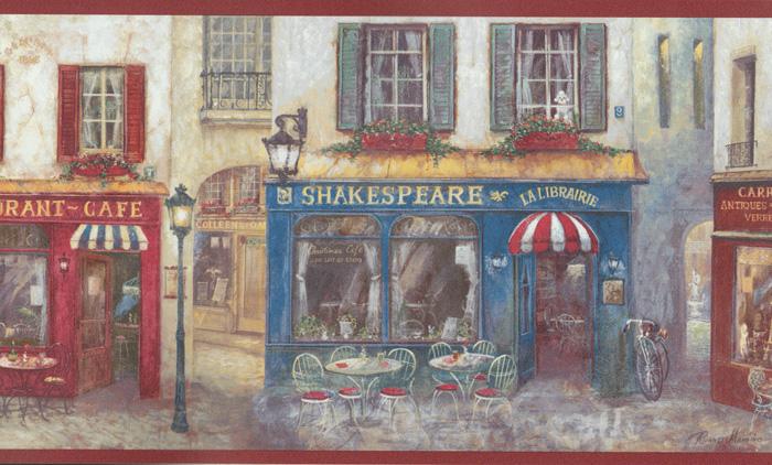 Vinyl Tapeten Hersteller : Kitchen Style 2″ Cafe Vinyl Tapeten-Bord?re rot-bunt AW77390 (7.21