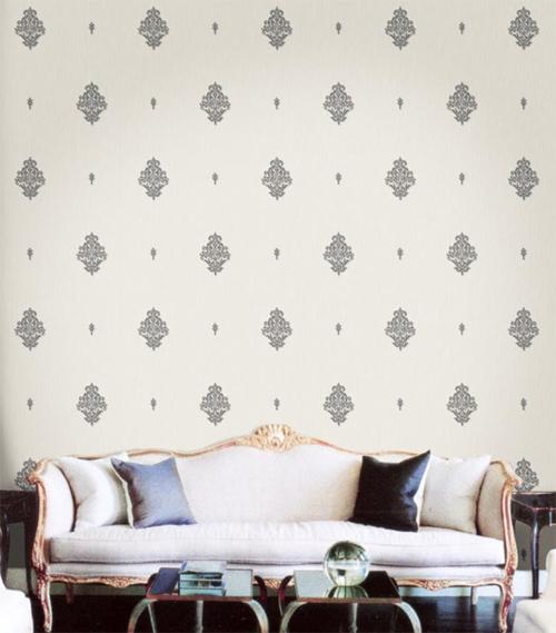 Hochwertige Tapeten Hersteller : Ornamenta Barock-Tapete hellgrau-silber 95309 Ornamente (10.18 Euro