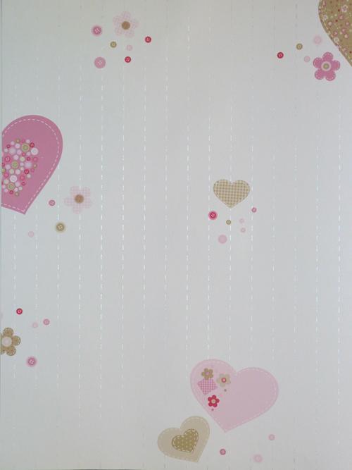 girls only kinderzimmer tapete herzen rosa beige gln 6195 4127 euro m ebay. Black Bedroom Furniture Sets. Home Design Ideas
