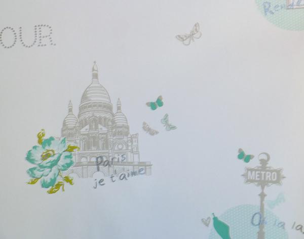 Solo ragazze carta da parati per bambini parigi verde gln for Carta da parati prezzo al mq