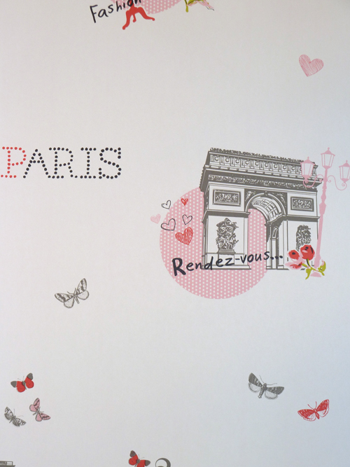 Kinderzimmer Tapete Rosa : Girls Only Kinderzimmer Tapete Paris Rosa-Grau GLN 6201 4020 (5.62