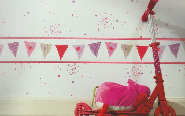 girls only kinderzimmer bord re fahnen rosa beige gln 6196. Black Bedroom Furniture Sets. Home Design Ideas