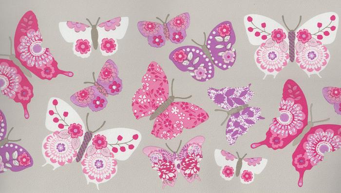 Casadeco Tapeten Deutschland : Girls Only Kinderzimmer-Bord?re Schmetterlinge GLN 6198 4027 beige (4