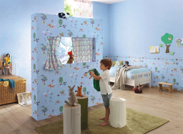 bambino 2015 kinderzimmer bord re 287646 wald tiere blau euro pro m ebay. Black Bedroom Furniture Sets. Home Design Ideas