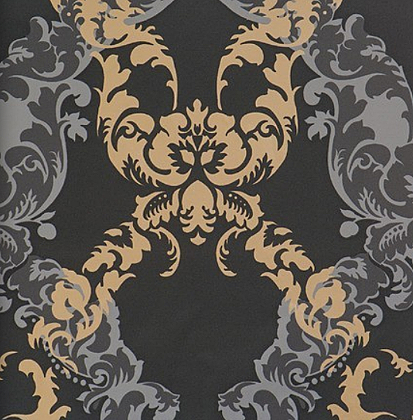 Ornamentals barock tapete ornamente 48665 schwarz gold for Tapete gold schwarz