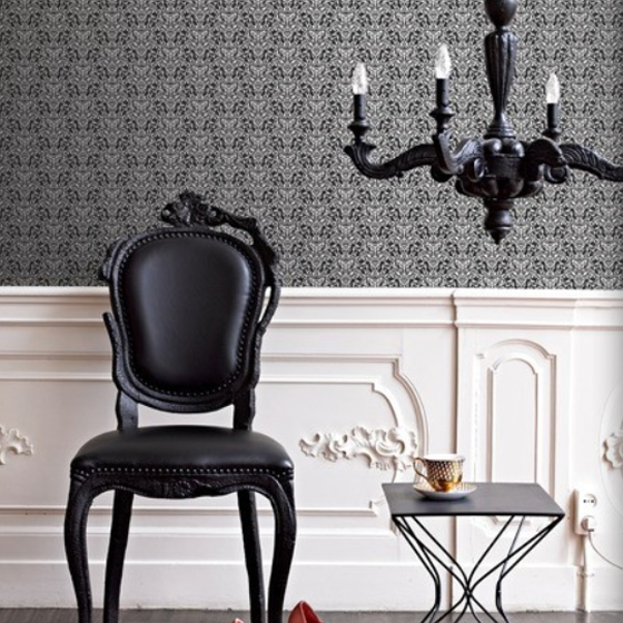 ornamentals barock tapete filigran 48636 schwarz silber euro pro m ebay. Black Bedroom Furniture Sets. Home Design Ideas