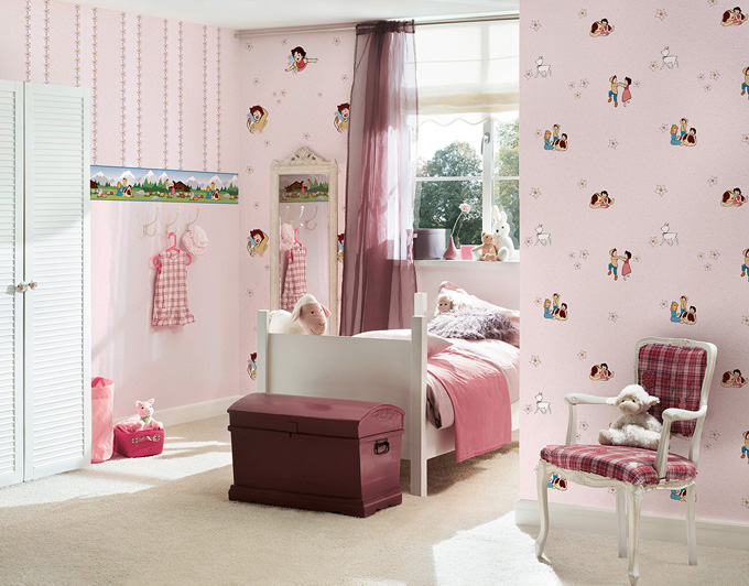 kids best friends kinderzimmer tapete 94198 2 heidi rosa euro pro m ebay. Black Bedroom Furniture Sets. Home Design Ideas