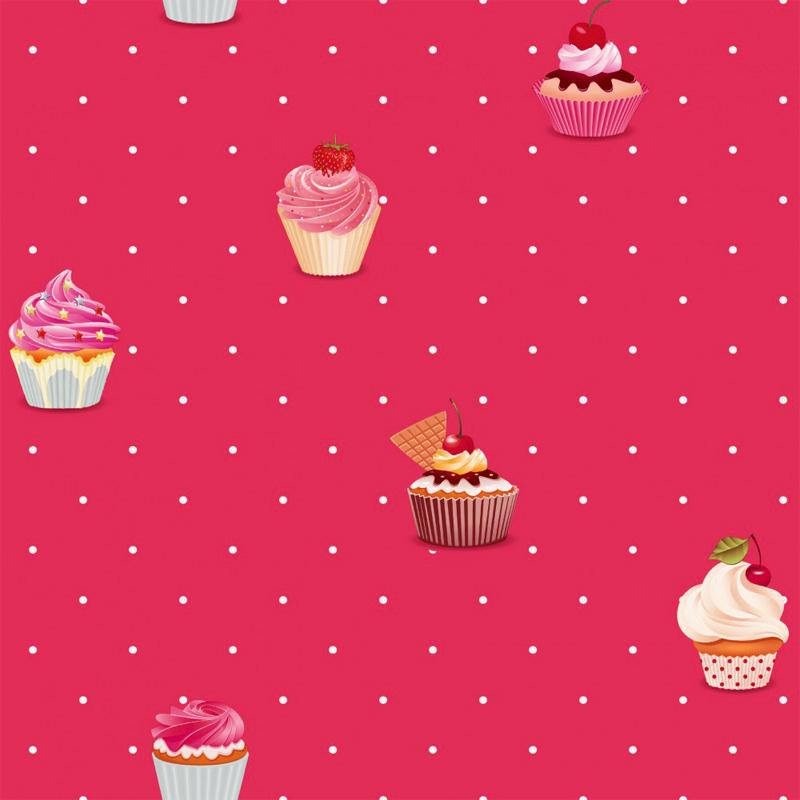 jack'n rose kinderzimmer vlies-tapete ll-02-09-5 cupcakes rot