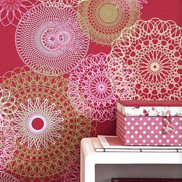 lef 2014 vlies tapete mandalas 48911 girly bunt euro pro m ebay. Black Bedroom Furniture Sets. Home Design Ideas
