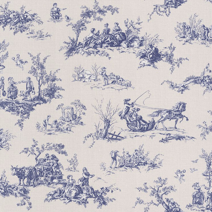 lazy sunday 2016 vlies tapete toile de jouy blau 451801