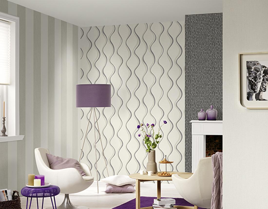 andora vlies tapete 95327 1 streifen grau wei. Black Bedroom Furniture Sets. Home Design Ideas