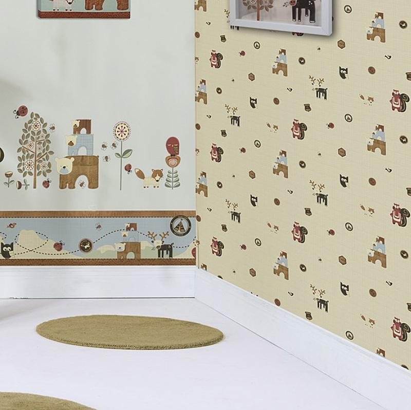 kids home tapete kinderzimmer tapeten 50 573 woodland critters euro m. Black Bedroom Furniture Sets. Home Design Ideas