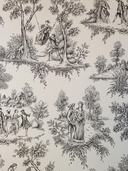 Rasch Tapeten Toile De Jouy : Vlies-Tapete Toile de Jouy 136820 schwarz-wei? v. Rasch Textil eBay