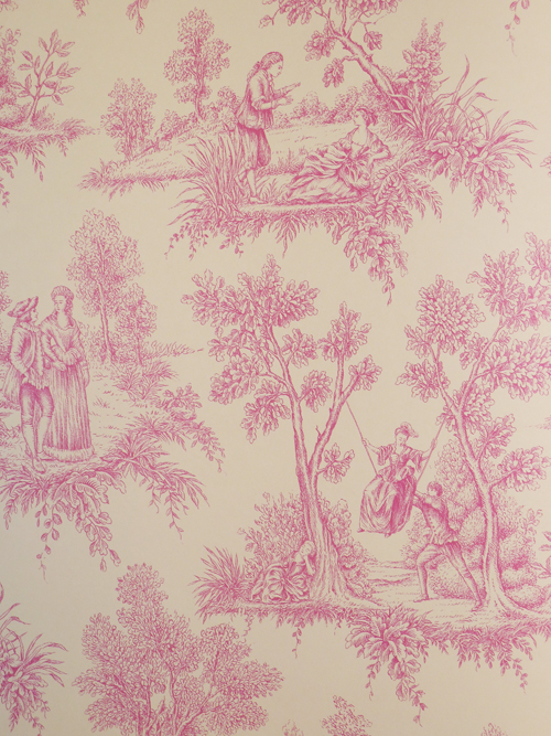 love vlies tapete toile de jouy 136819 pink wei v rasch textil ebay. Black Bedroom Furniture Sets. Home Design Ideas