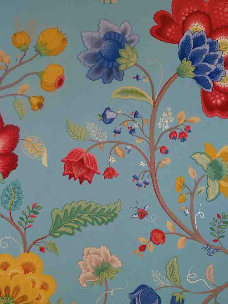 pip studio vlies tapete 341035 floral blau vintage. Black Bedroom Furniture Sets. Home Design Ideas