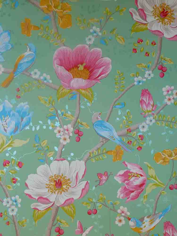 Pip studio vlies tapete 341005 floral v gel gr n vintage for Tapete floral