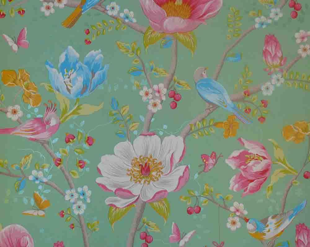pip studio vlies tapete 341005 floral v gel gr n vintage. Black Bedroom Furniture Sets. Home Design Ideas