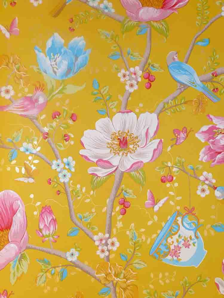 pip studio vlies tapete 341006 floral v gel gelb orange vintage euro m ebay. Black Bedroom Furniture Sets. Home Design Ideas