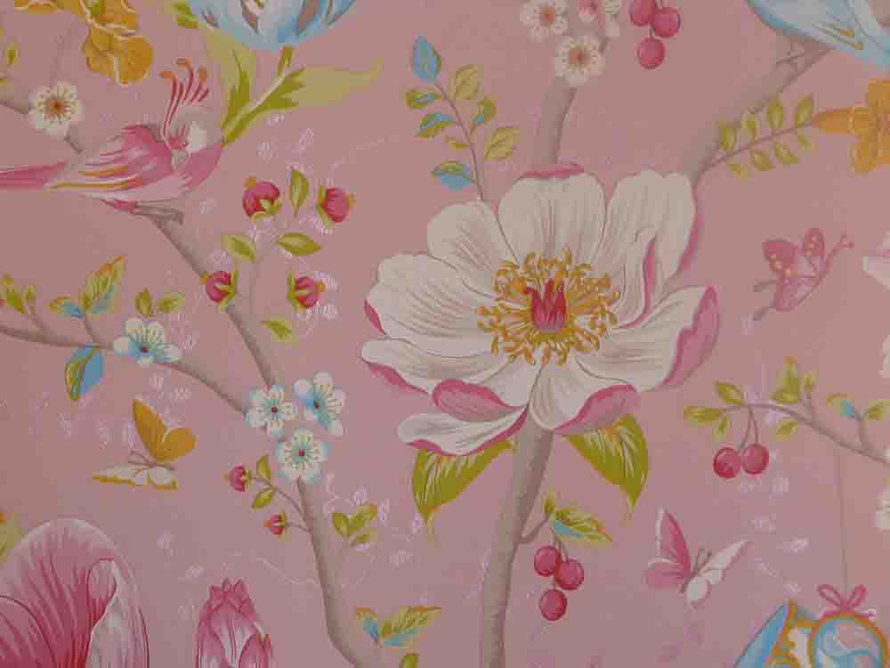 pip studio vlies tapete 341001 floral vogel rosa vintage With markise balkon mit tapeten pip studio design