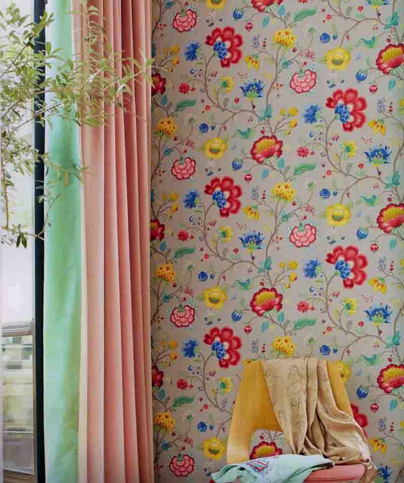 Pip studio vlies tapete 341039 floral grau vintage for Tapete floral