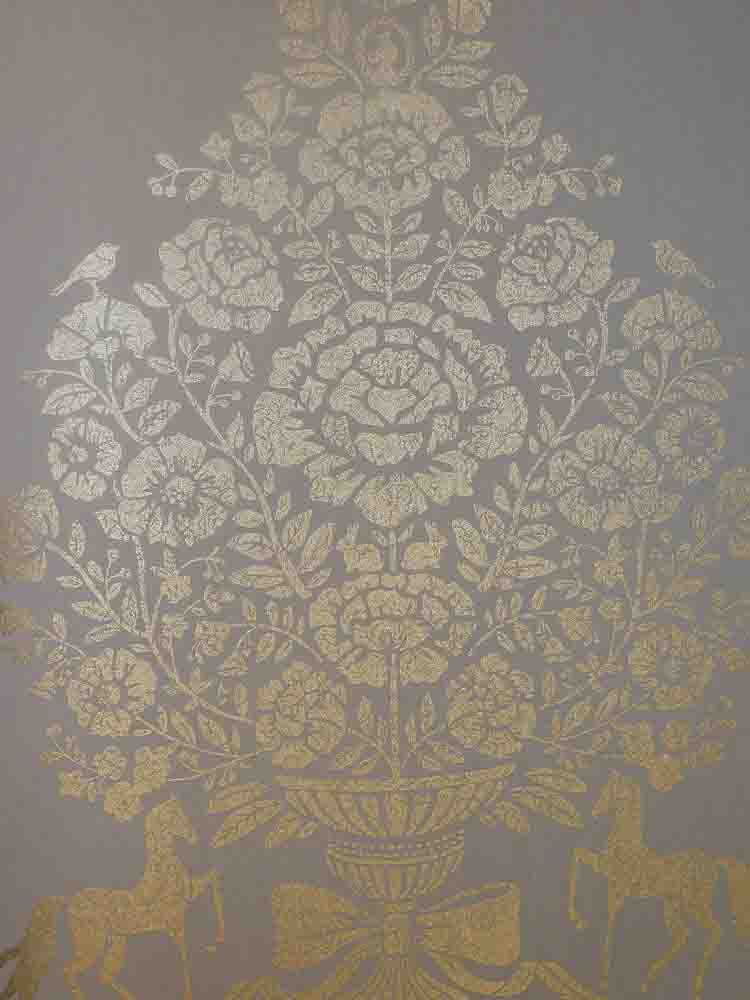 Pip studio vlies tapete 341054 floral pferde gold glanz for Tapete gold grau