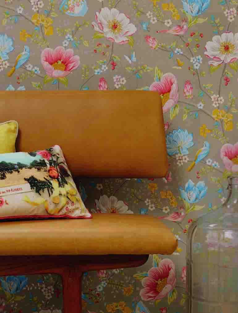pip studio vlies tapete 341003 floral v gel blau vintage. Black Bedroom Furniture Sets. Home Design Ideas