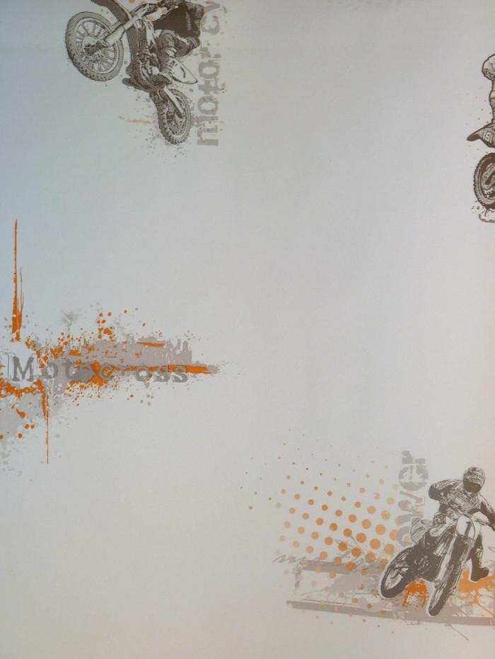 only boys kinderzimmer tapete olb 6481 3002 motocross orange-grau ... - Kinderzimmer Grau Orange