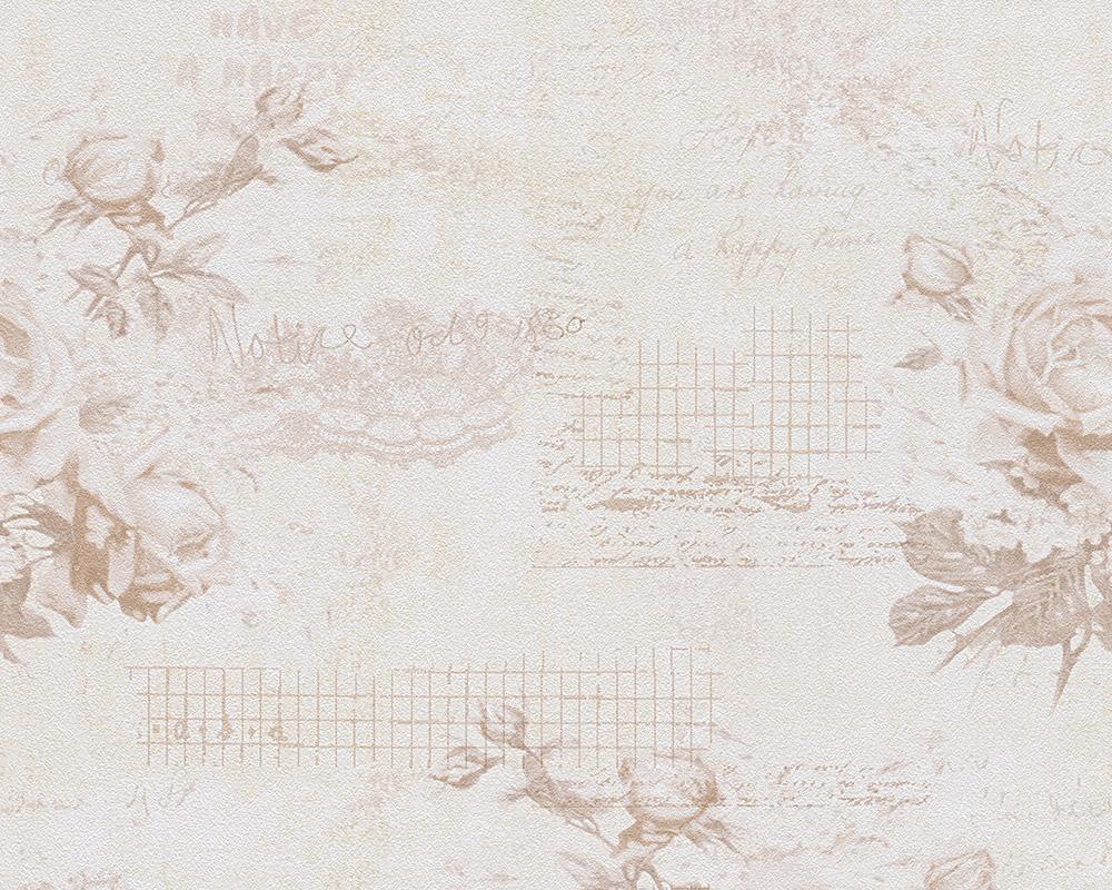Djooz tapete 95667 2 landhaus romantik vintage rosen beige for Landhaus tapete