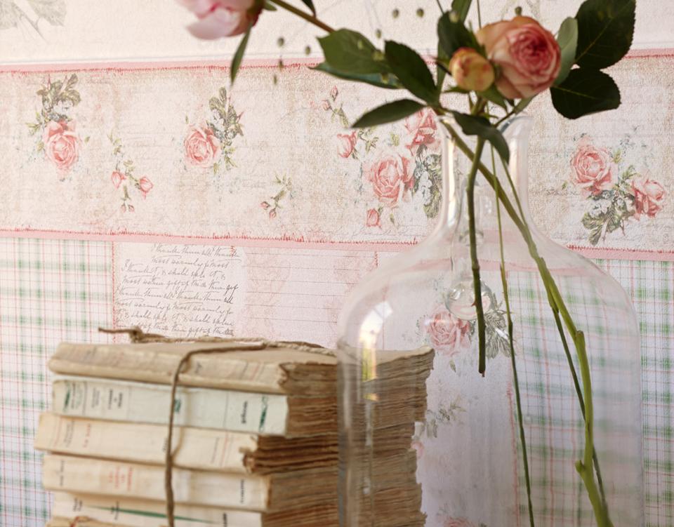 djooz tapeten bord re 95665 1 romantik vintage rosen rosa euro pro m ebay. Black Bedroom Furniture Sets. Home Design Ideas