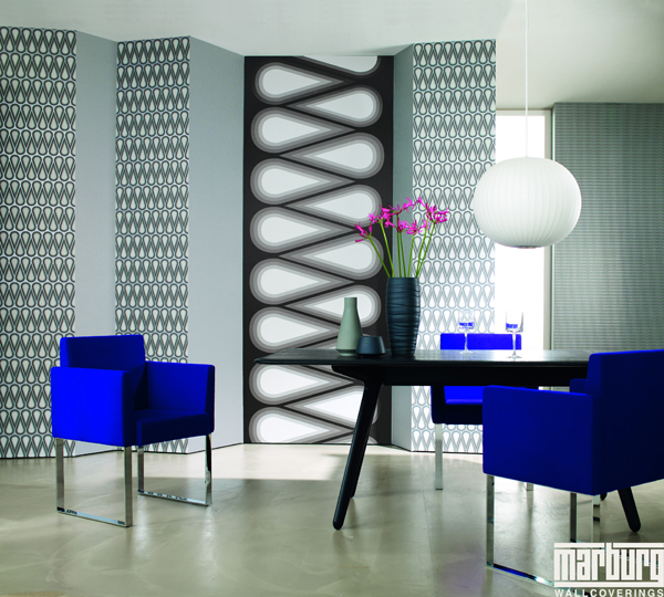 karim rashid vlies tapete grafik retro style anthrazit silber 4 31 euro m ebay. Black Bedroom Furniture Sets. Home Design Ideas
