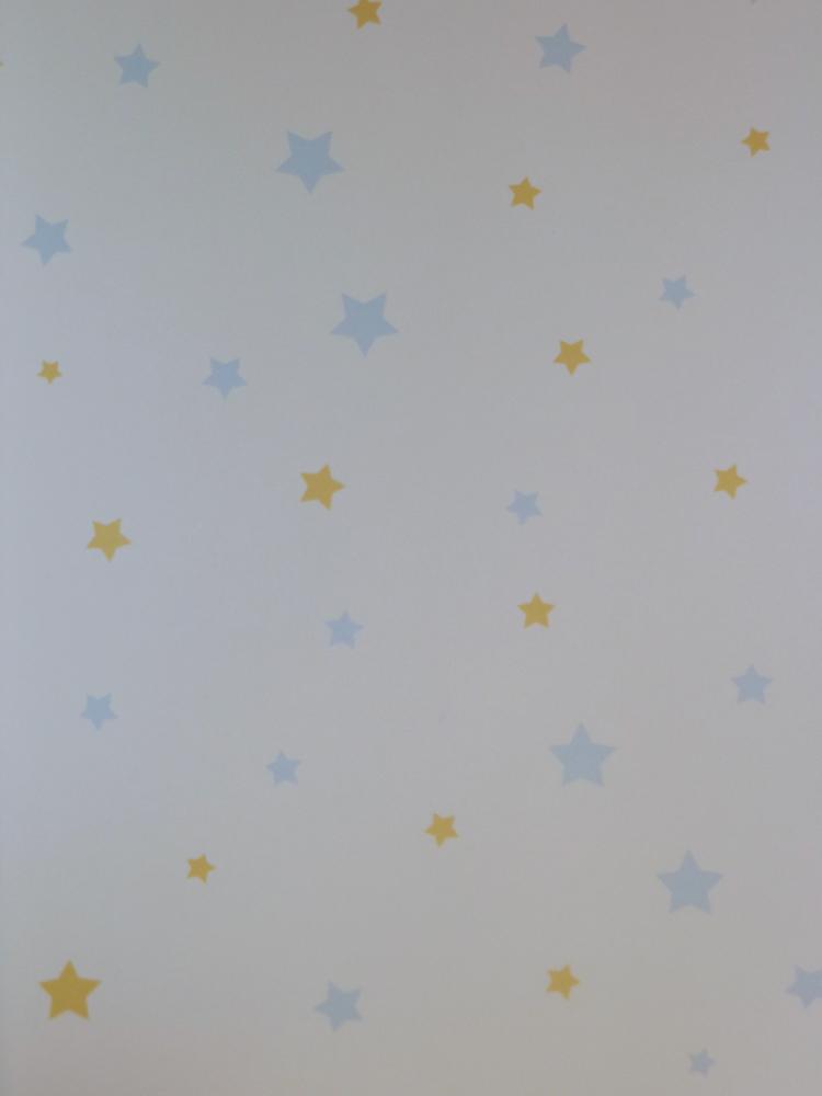 Disney deco sternchen tapete kinderzimmer 3007 1 blau gelb for Tapete kinderzimmer
