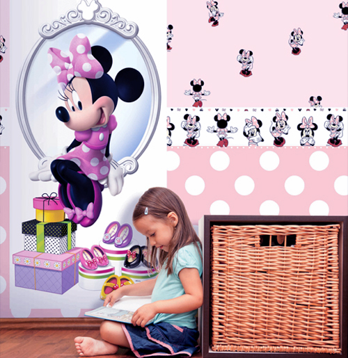 Disney deco minnie mouse tapete kinderzimmer tapeten 3002 3 rosa euro m ebay - Minnie mouse kinderzimmer ...