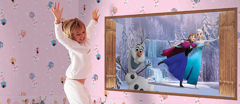 Disney Tapete Kinderzimmer : Disney Deco Frozen Tapete Kinderzimmer-Tapeten 3003-1 hellblau (3.56