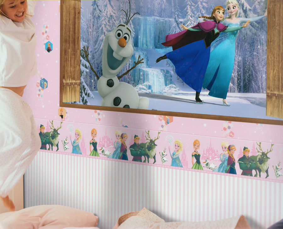Disney deco papel pintado adhesives 3503 2 autoadhesivas frozen cenefa rosa 3 09 euros m ebay - Bordure kinderzimmer selbstklebend ...