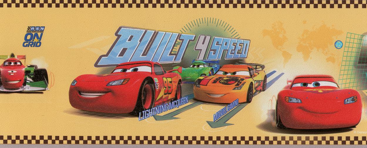 Selbstklebende Tapete Uni : Disney Deco Tapeten-Bord?re 3505-2 Selbstklebend Borte Cars gelb (3
