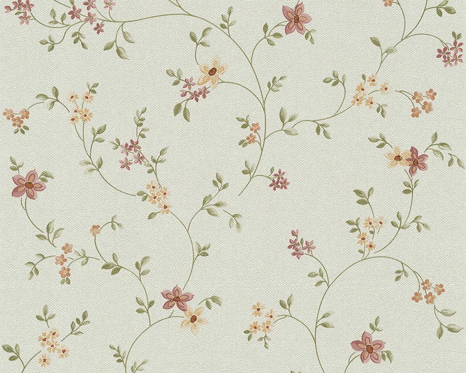 Tapeten Gr?ne Blockstreifen : Fleuri Pastel Vlies-Tapete 93770-1 Floral Bl?mchen flieder-beige (3