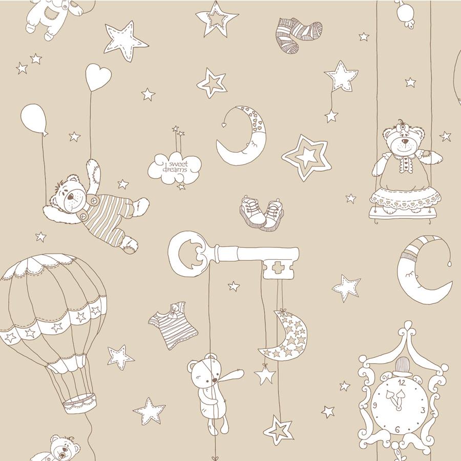 bim bum bam vlies tapete kinderzimmer tapete 002232 b rchen beige euro m ebay. Black Bedroom Furniture Sets. Home Design Ideas