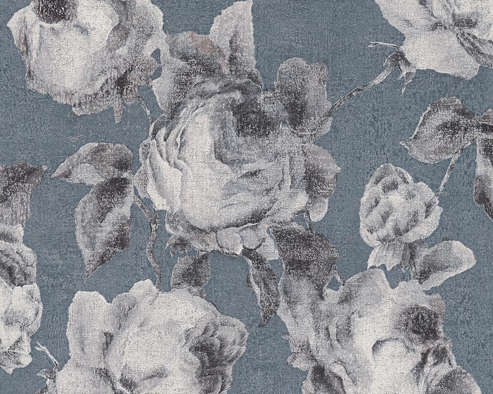 Bohemian Burlesque Tapete : Bohemian Burlesque Tapete Vlies-Tapeten 96050-6 Floral blau-grau (5.02