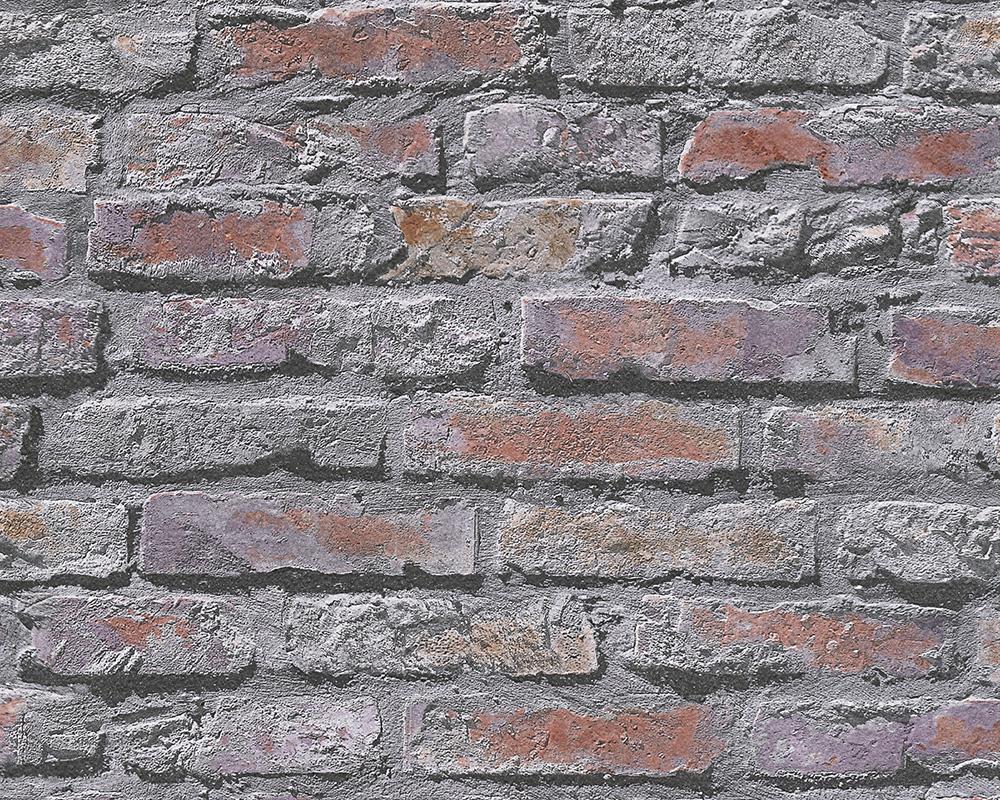 Dekora natur 6 tapete steinmauer grau rot 95470 2 a s for Steinmauer tapete