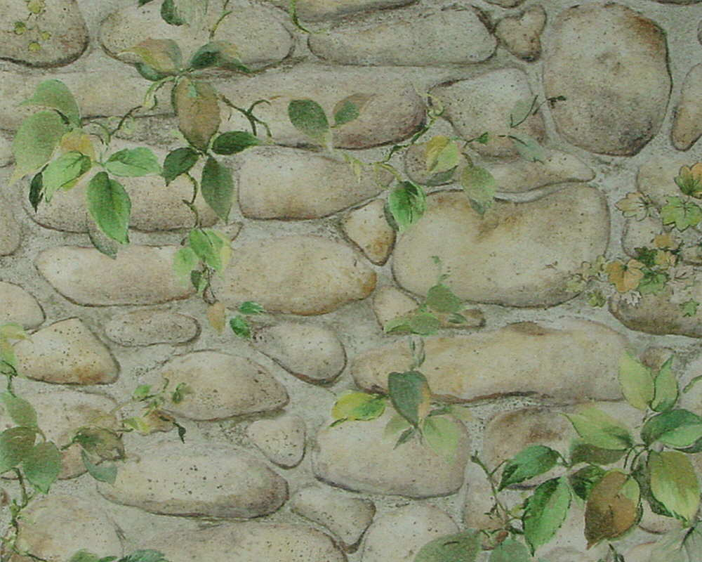Dekora natur 6 tapete steinmauer floral beige braun gr n for Steinmauer tapete