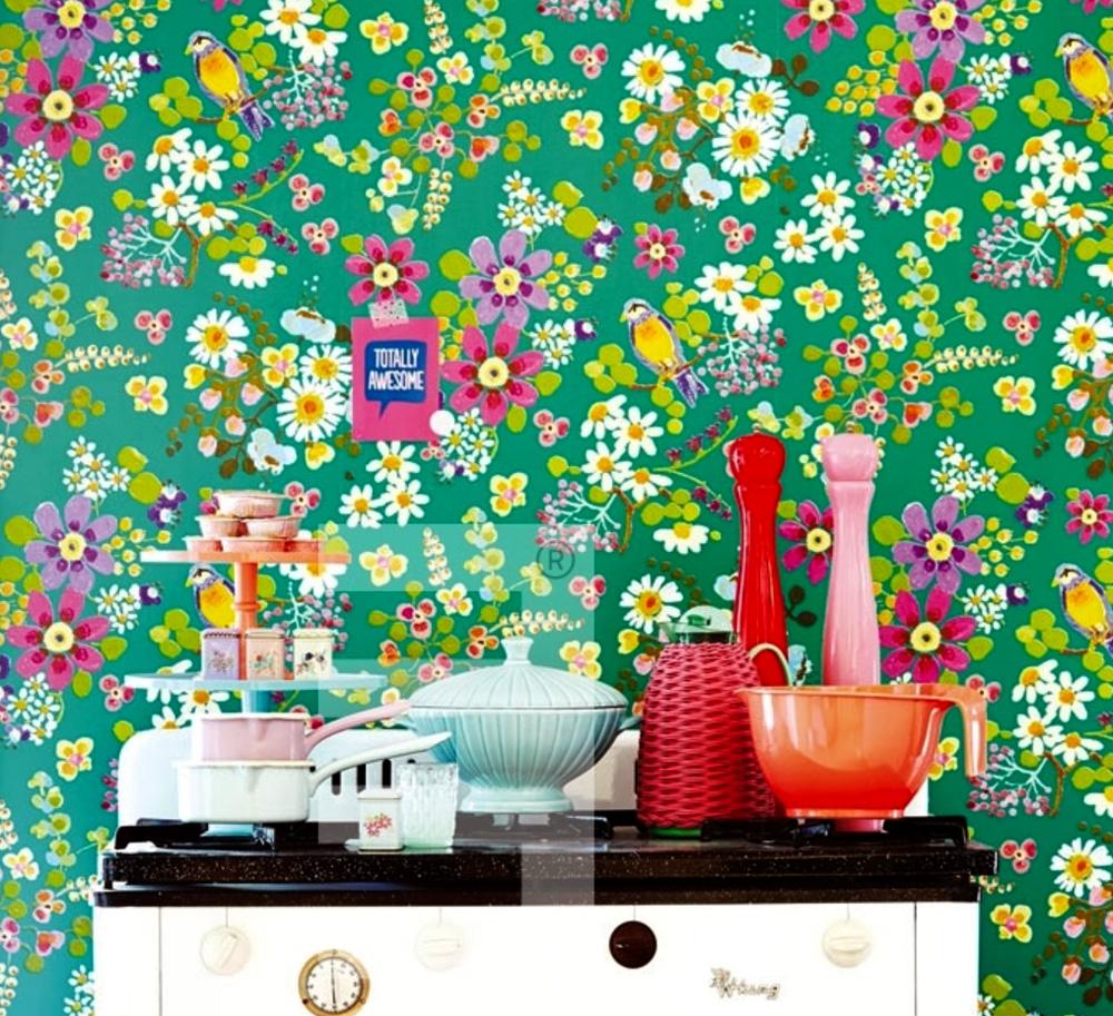 Rice everyday magic fieltro papel pintado 359073 floral for Papel pintado grueso