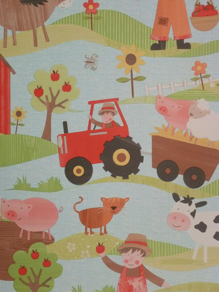 Tiny tots papel pintado infantil g45130 granja granja for Papel tapiz infantil